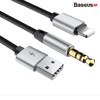 Cáp chuyển cổng Lightning sang Audio AUX 3.5mm + USB Baseus L34 cho iPhone/ iPad (Lightning 8 Pin to 3.5mm USB Audio Cord)