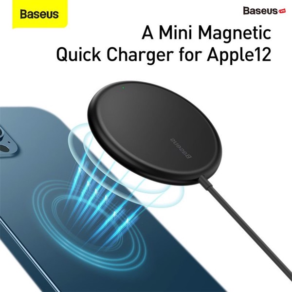Đế sạc không dây nam châm Baseus Simple Mini Magnetic Wireless Charger dùng cho iPhone 12 Series (15W, Wireless Magsafe Quick charger)