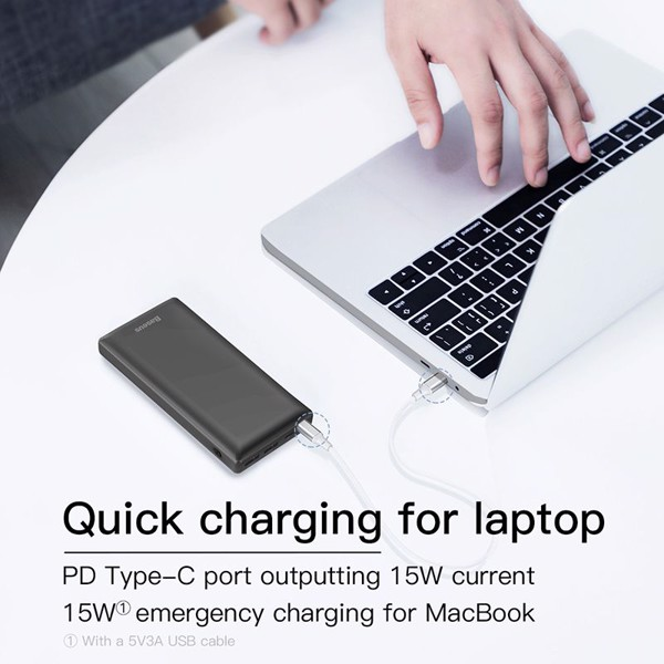 Pin dự phòng sạc nhanh Baseus Mini JA 3A Fast Charge Power Bank 30,000mAh cho Smartphone/ Tablet/ Laptop/ Macbook (15W PD Fast charge, 2Port USB+ Type C)