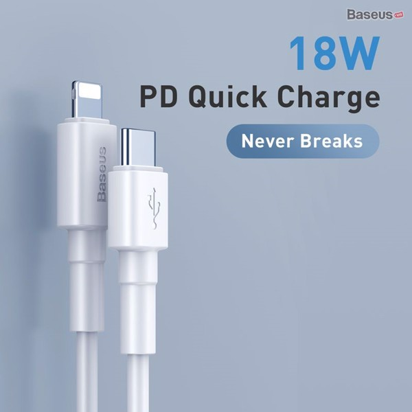 Cáp sạc nhanh Type C to Lightning hỗ trợ PD 18W Baseus Mini White (Power Delivery, C to iPhone Data TPE Cable )
