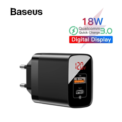 Bộ sạc nhanh PD3.0/QC 3.0 Baseus Mirror Lake PPS Digital Display Quick Charger (18W, 2 Ports,FCP/AFC/PPS/PD/QC 3.0 Full Quick Charge Protocol)