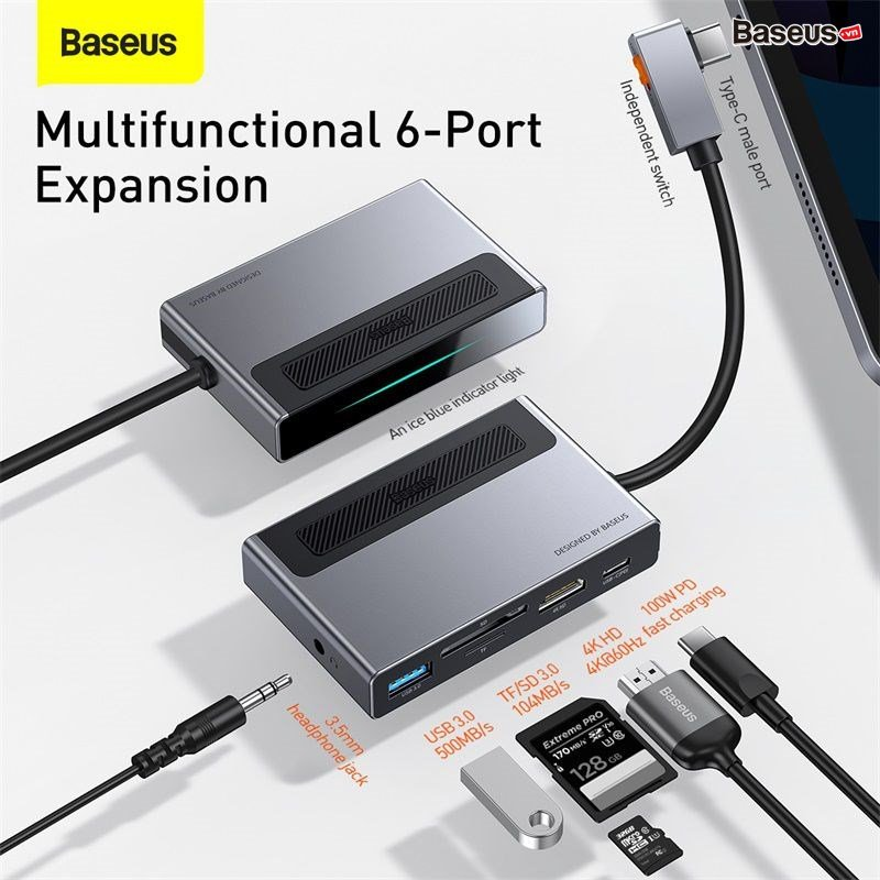 Hub chuyển đổi 6 in 1 Baseus Magic Multifunctional cho iPad/ Macbook and Surface Pro 7 (Type-C to USB 3.0, SD/TF 3.0, HDMI 4K60Hz, AUX 3.5mm, Type C PD100W, HUB with a Retractable Clip Standard Edition)