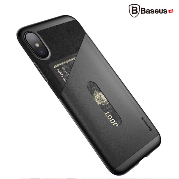 Ốp Lưng Baseus Card Pocket Case LV193 cho iPhone X (TPU + PC + PU Leather + Microfiber Material)