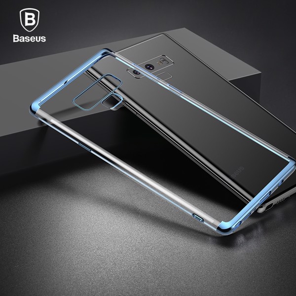Ốp lưng Silicone dẽo trong suốt viền si Crome màu Baseus Shining Case cho Samsung Galaxy Note 9 (Soft TPU Silicone)