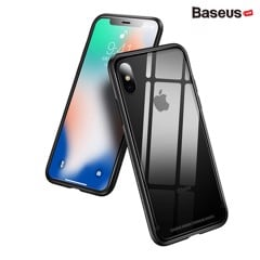 Ốp lưng kính cường lực viền Silicone chống sốc Baseus See-through Glass Case cho iphone X (Tempered Glass + Soft Silicone )