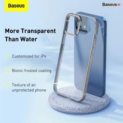 Ốp lưng Silicone dẽo trong suốt viền si màu Baseus Shining Case cho iPhone 12 Series (Soft TPU Silicone, Super Clear Case)