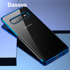 Ốp lưng Silicone dẽo trong suốt viền si Crome màu Baseus Shining Case cho Samsung Galaxy S10 / S10 Plus ( Soft TPU Silicone)