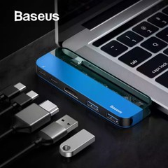 Bộ Hub đa năng Baseus Transparent Series 5 in 1 Multifunctional HUB dùng cho Macbook/iPad Pro ( Single Type-C to Type-C*2+USB3.0*2+HDMI)