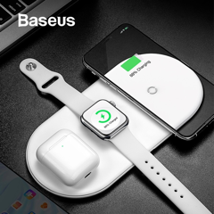 Bộ sạc không dây Baseus Smart 3in1 Wireless Charger For Phone, Apple Watch, Airpods (18W Max, Wireless Quick Charger)