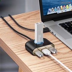 Bộ HUB chia cổng USB Baseus Square Round 4 in 1 ( Type C/ USB 3.0  to USB3.0*1+USB2.0*3 Smart Adapter)
