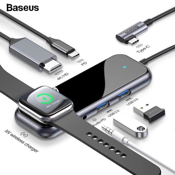Hub chuyển đa năng tích hợp sạc Apple Watch Baseus Superlative Multifunctional 6 in 1 (Type-C to USB3.0 *2 + HDMI + Audio + PD + iWatch wireless charger)