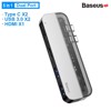 Bộ Hub đa năng Baseus Transparent Series 5 in 1 Multifunctional HUB dùng cho Macbook (Dual Type-C to Type-C*2+USB3.0*2+HDMI)