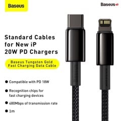 Cáp sạc nhanh C to Lightning 20W Baseus Tungsten Gold Fast Charging Data Cable Type-C to iP PD 20W