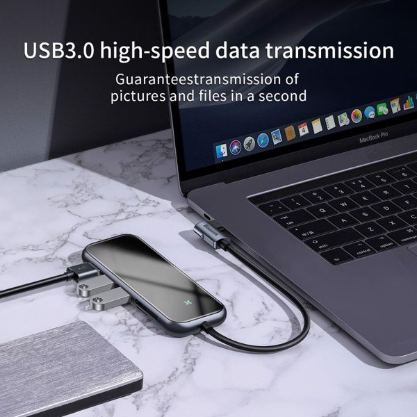 Hub chuyển đa năng Baseus Superlative Multifunctional 6 in 1 (Type-C to 3xUSB3.0+HDMI+SD/TF Card Reader+PD)