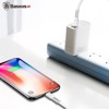 Cáp sạc nhanh và truyền dữ liệu tốc độ cao Type C - Lightning Baseus Tough Series cho iPhone 8/ 8 Plus/ iPhone X (18W, PD Quick Charging, Cáp dẹp chống rối)