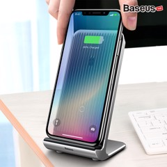 Đế sạc nhanh không dây tích hợp quạt tản nhiệt Baseus Vertical Desktop Cooling LV338 cho iPhone 8/ iPX/ XR/ XS/XS Max/ Samsung S8/ S9/ Note 8/9 (10W, Qi Wireless Quick Charge)