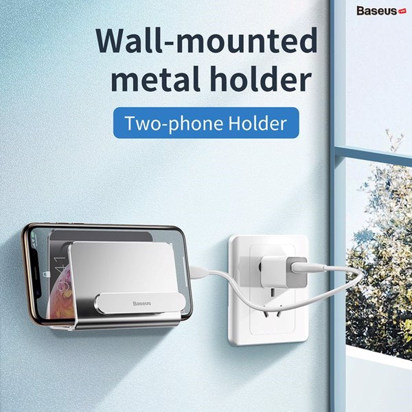 Bộ đế giữ điện thoại dán tường Baseus Wall Mounted Metal Holder (Aluminum Alloy, Two-phone Holder Stand)