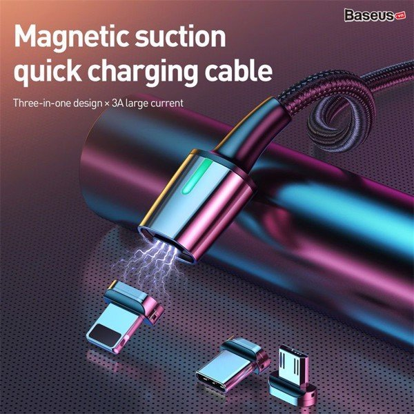 Bộ cáp từ 3 đầu Baseus Zinc Magnetic Series 2 Cable Kit(Lightning/ Type C/ Micro Magnetic Connetor + USB Cable)