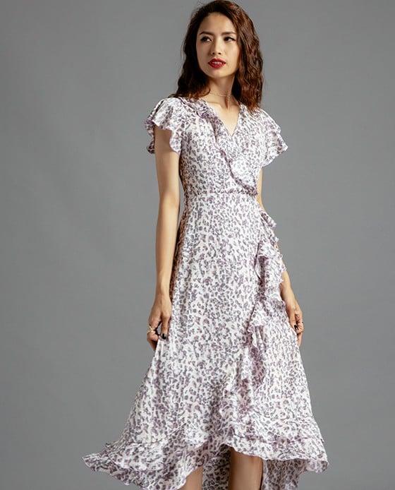 Đầm Midi Đắp Vạt Đầm Hoa | Thời trang thiết kế Hity