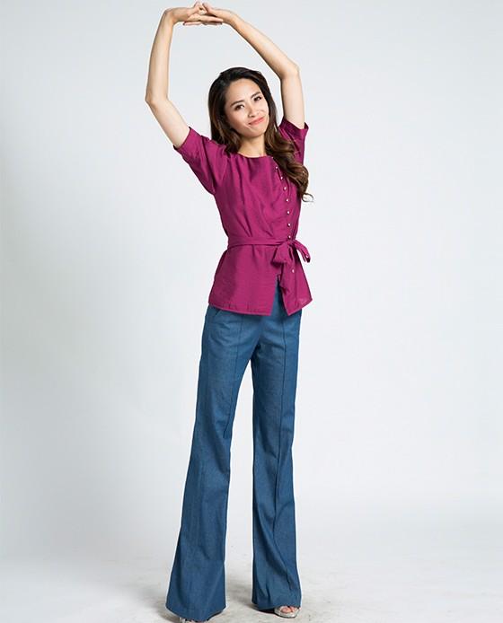 Áo sơ mi nữ tay bo kèm thắt lưng   Thời trang thiết kế Hity