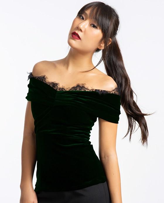 Áo Trễ Vai Nhung Áo Đẹp Đi Tiệc | Thời trang nữ Hity