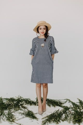 STRIPE PLAID MM DRESS