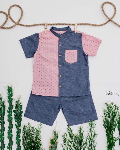 PINK MIX DENIM BOY SET
