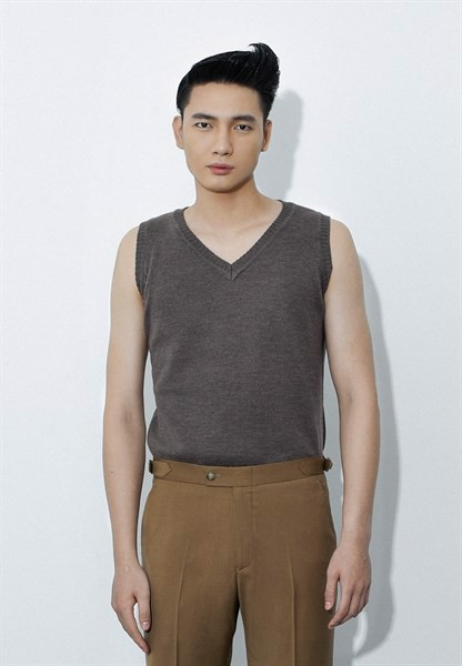 Brown V-neck sleeveless sweet-shirt