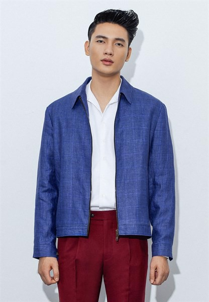 Windowpane admiral blue zipper jacket