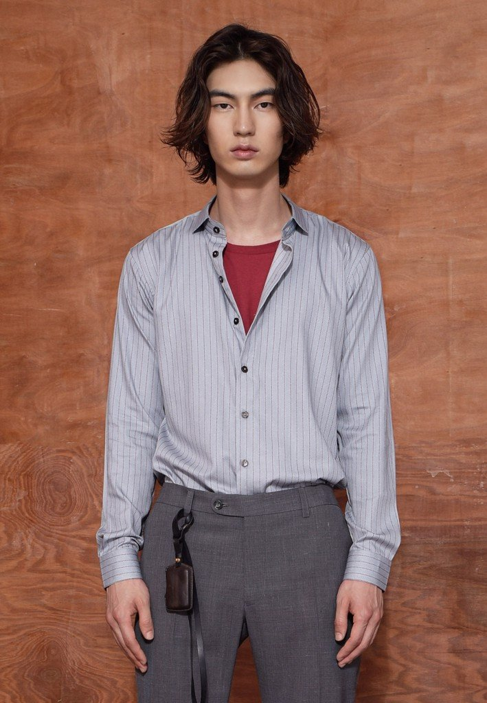 Red-grey stripe shirt with spread colar