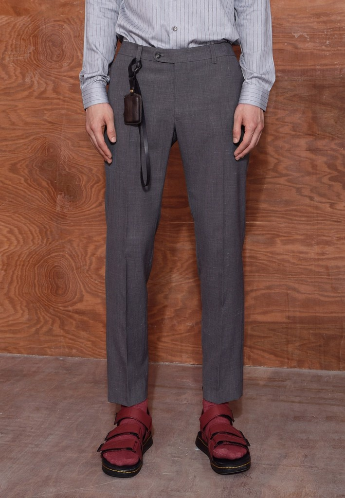 Textured grey trousers