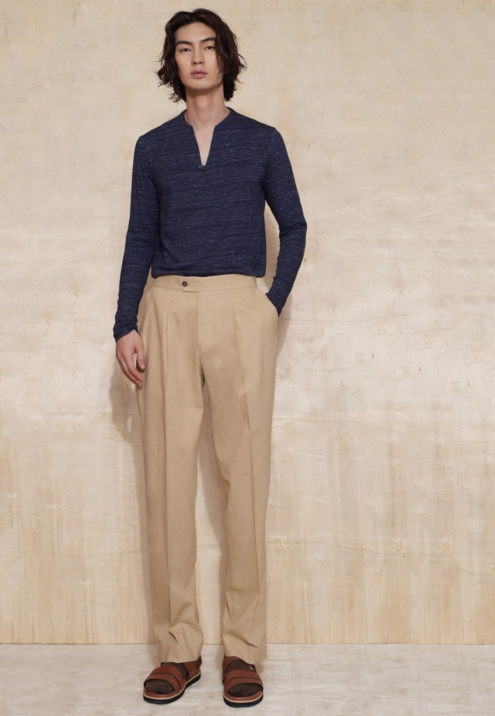 Sepia linen trousers with buckles