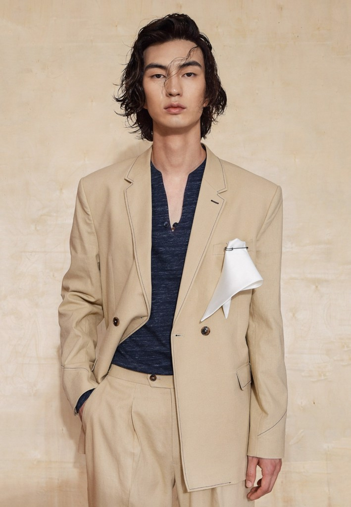 Sepia double-breasted linen suit blazer