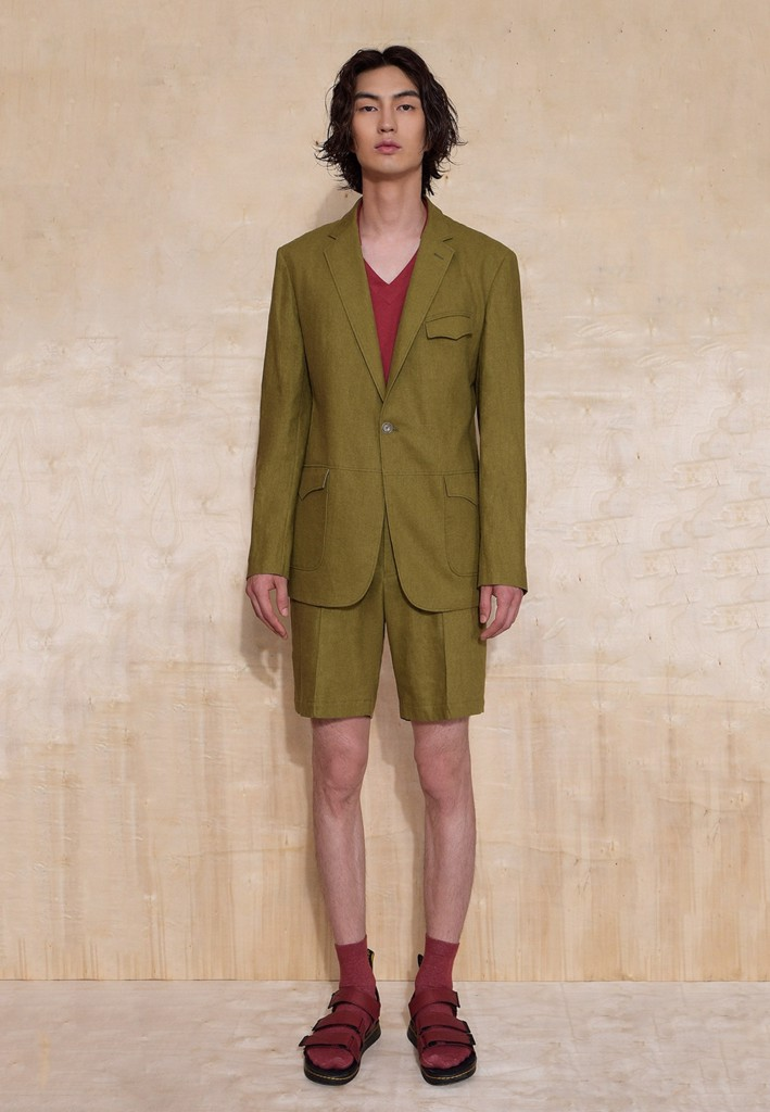 Unlined one-button olive blazer