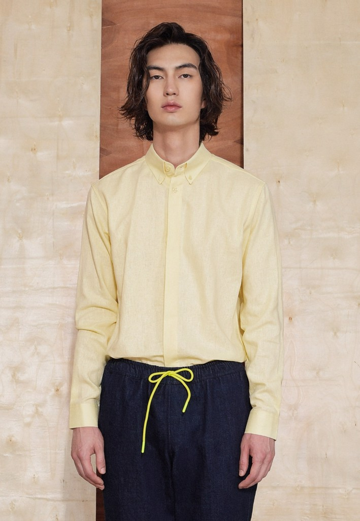 Button-down yellow linen shirt