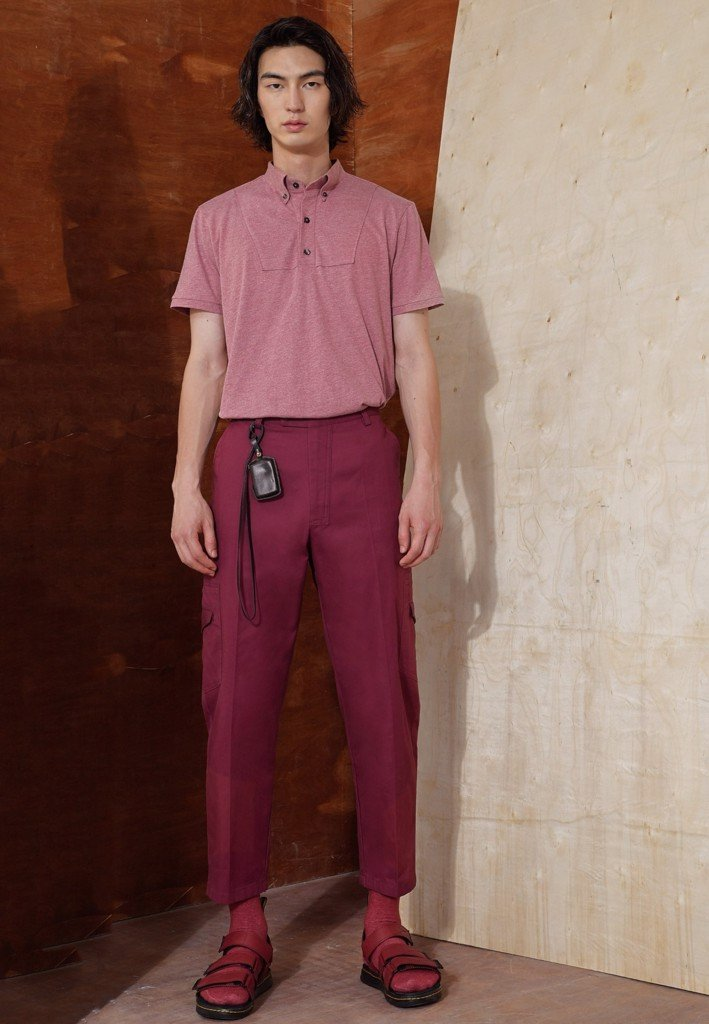 Button-down-collared peach polo t-shirt
