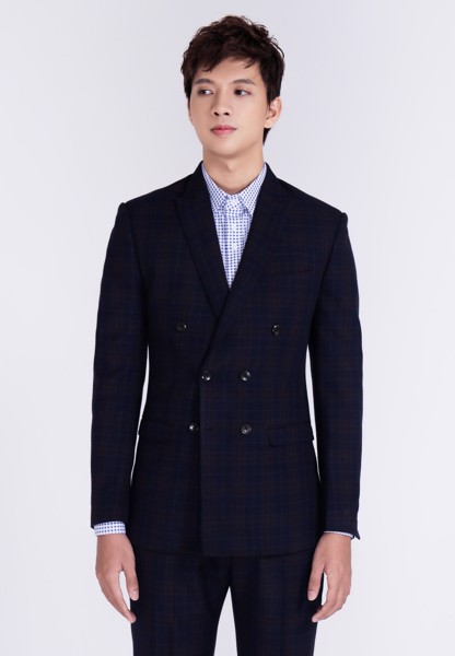 Blazer double-breasted xanh đậm plaid đỏ mờ (PC200-M8)
