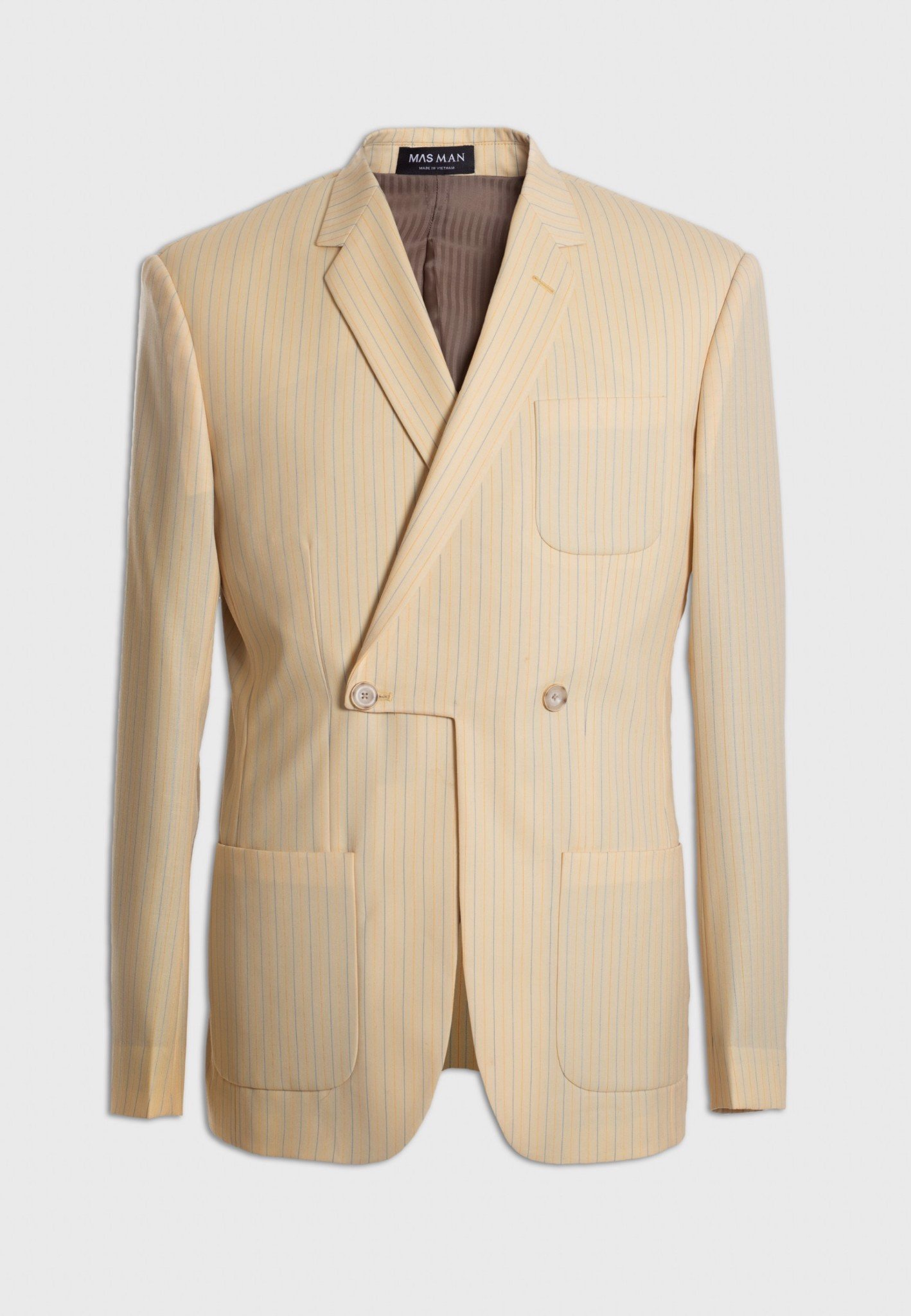 Stripe daffodil cut double-breasted blazer
