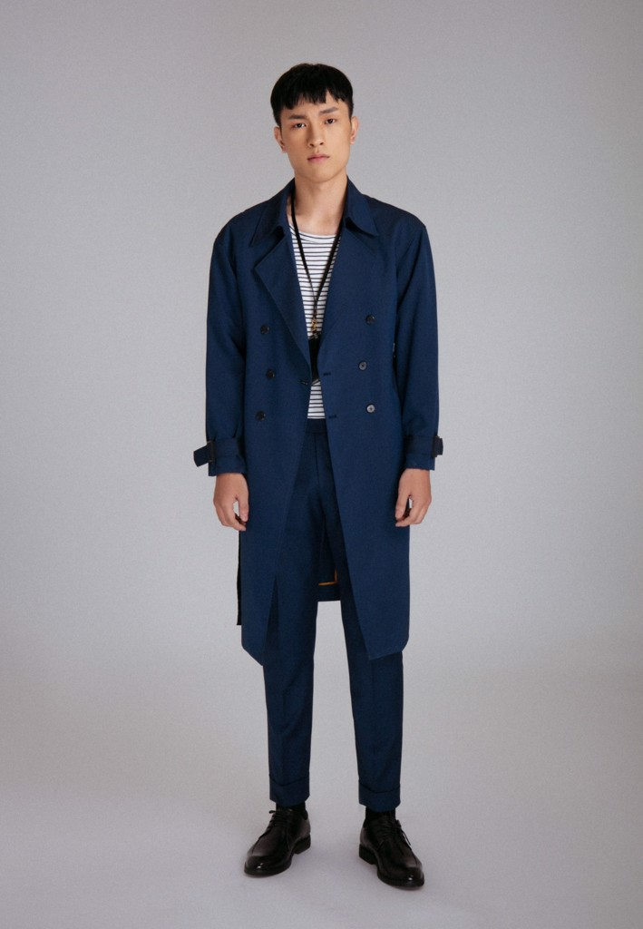 Trenchcoat xanh đậm double-breasted freesize