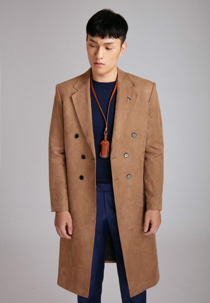 Trenchcoat da lộn nâu double-breasted freesize