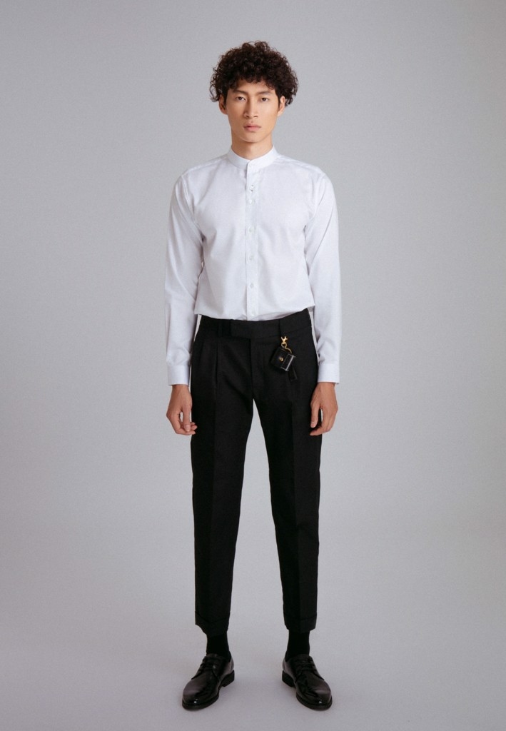 Black plain linen trousers