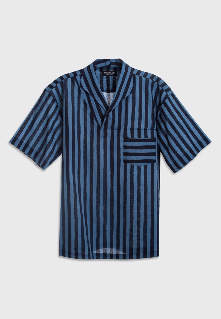 Short-sleeve blue stripe shirt with camp collar