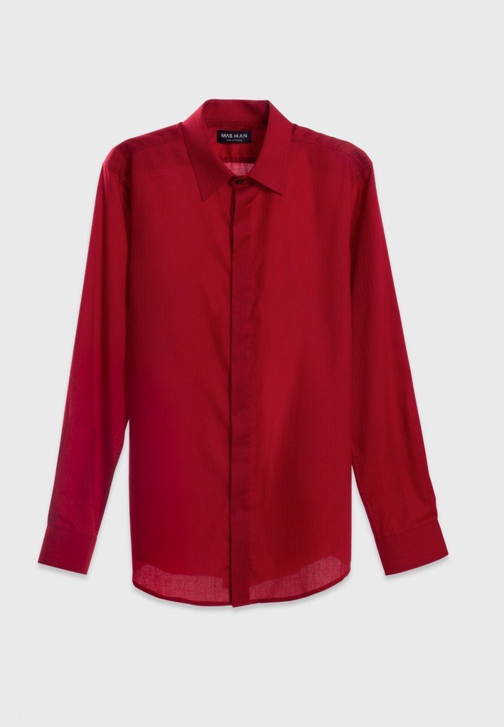 Matte texture red shirt with hidden buttons
