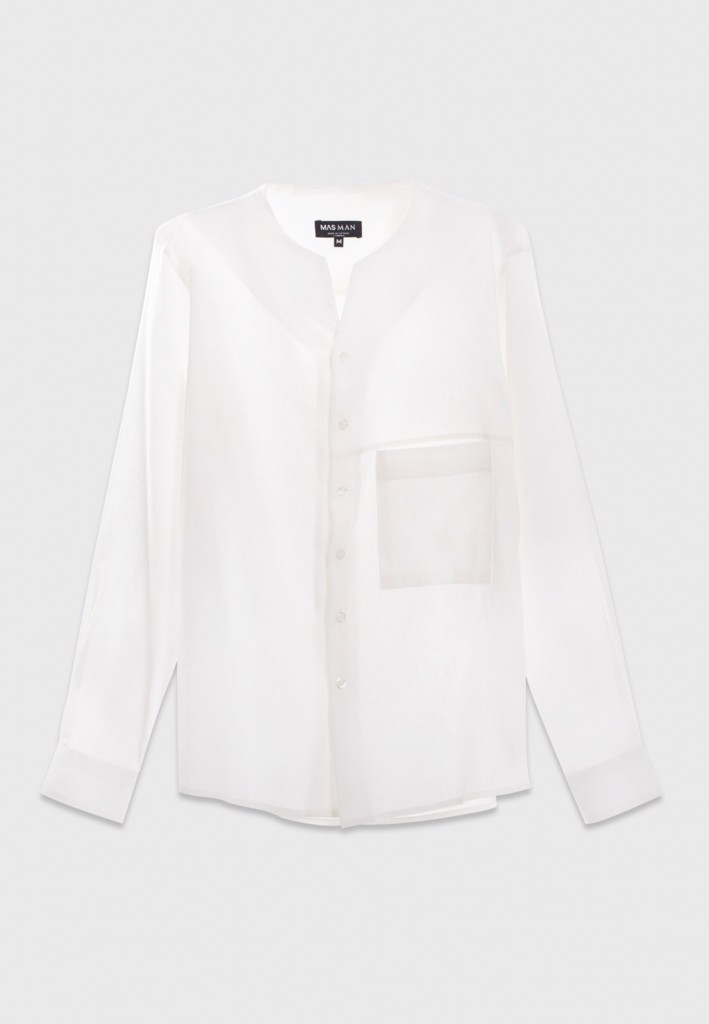 Collarless white shirt with pocket