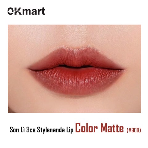SON LÌ 3CE STYLENANDA LIP COLOR MATTE #909 Smoked Rose (Đỏ Gạch)