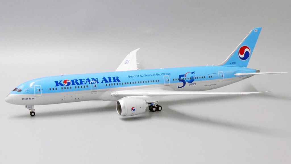 Mô Hình Máy Bay Korean Air Boeing 787-9 HL8081 50 Years of Excellence | JC Wings 1:200
