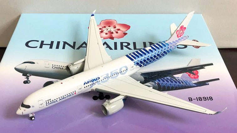 Mô Hình Máy Bay China Airlines Airbus A350-900 B-18918 Carbon Fiber | Aviation 1:400