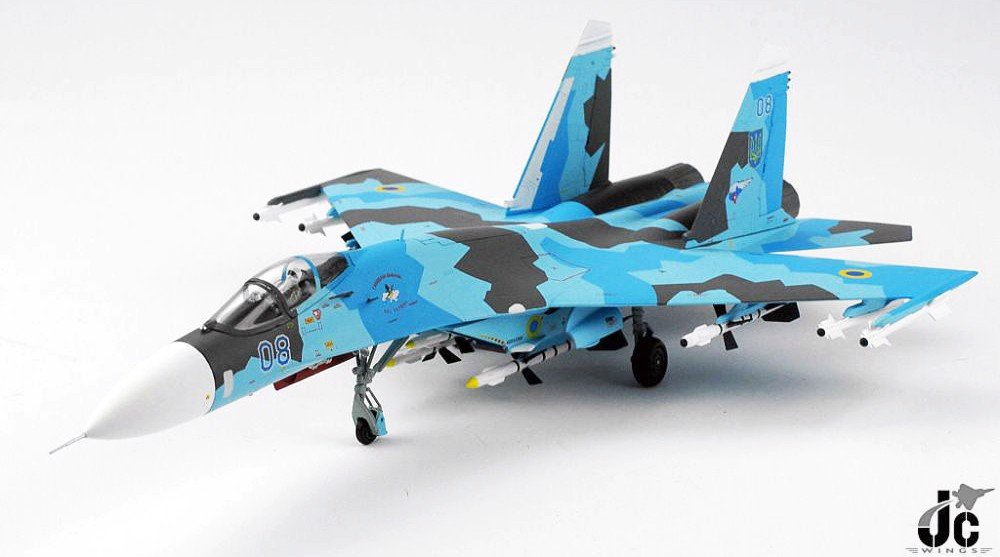 Mô Hình Máy Bay Ukrainian Air Force Sukhoi Su-27 Flanker-B Blue 08 | JC Wings 1:72