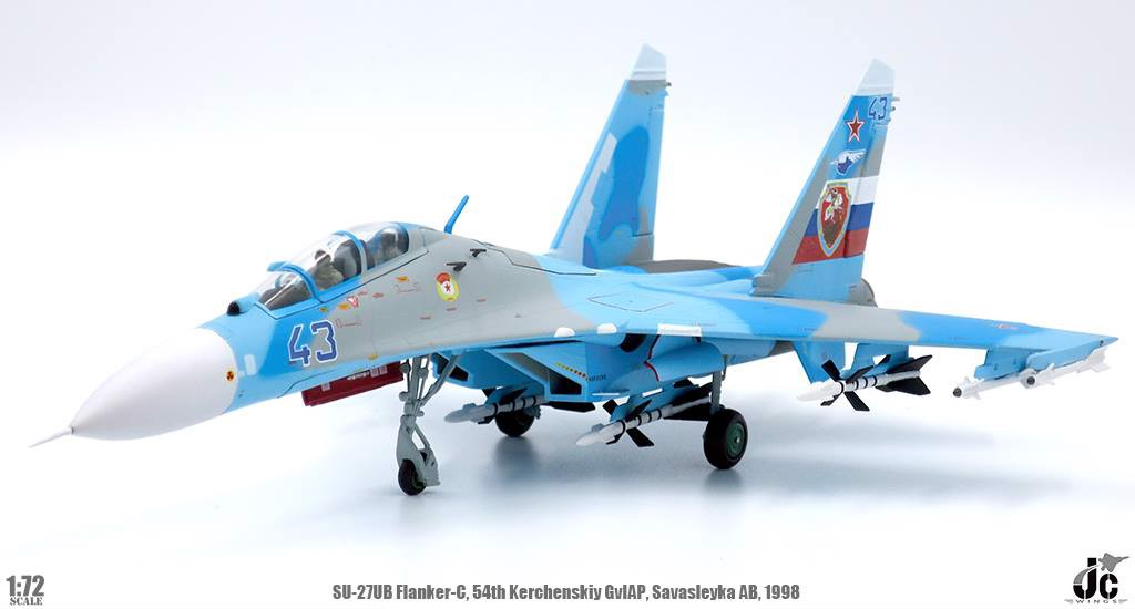 Mô Hình Máy Bay Russian Air Force Sukhoi Su-27UB Flanker-C Blue 43 | JC Wings 1:72