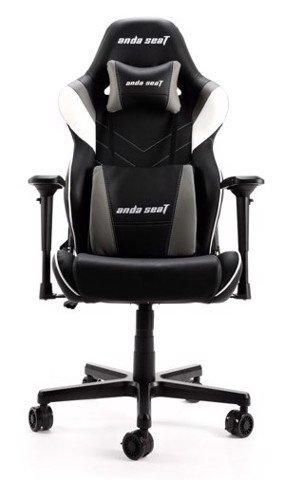 Anda Seat Assassin King V2 Black/White/Grey - Full PVC Leather 5D Armrest Gaming Chair